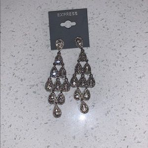 Express diamond dangly earrings
